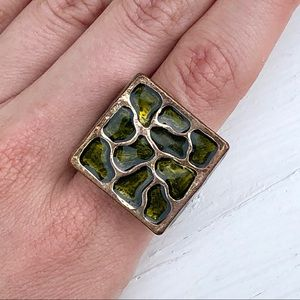 Green Enamel Square Organic Patterned Ring